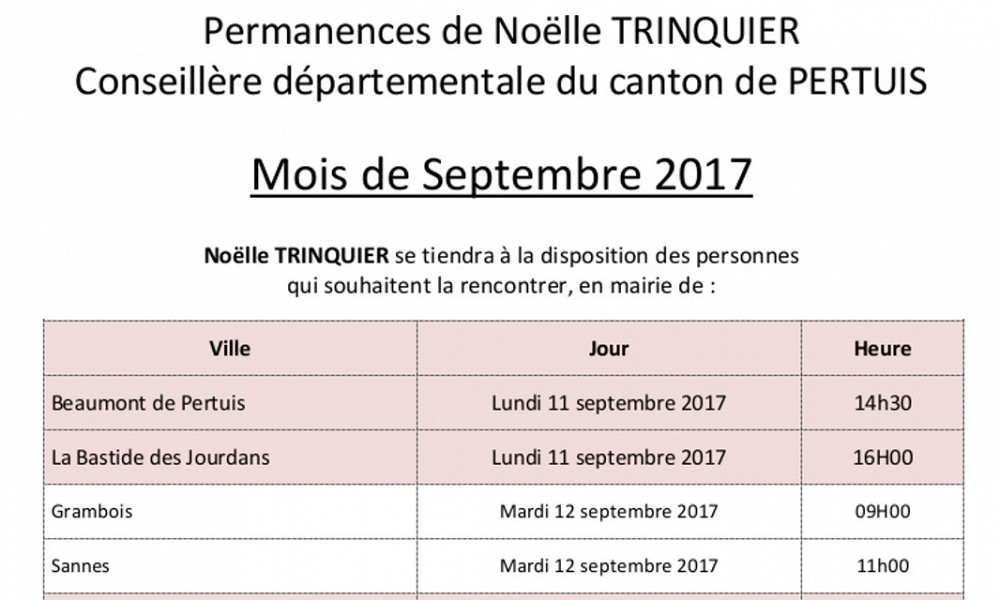 Permanences de Noëlle TRINQUIER Sept. 2017
