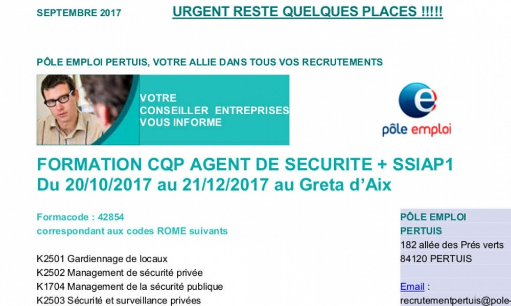 FORMATION CQP AGENT DE SECURITE